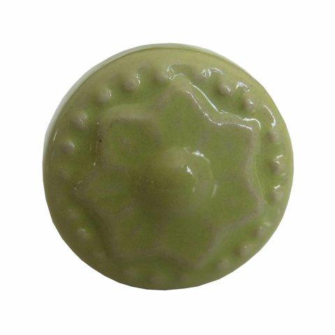 Deurknop porselein ster groen mini