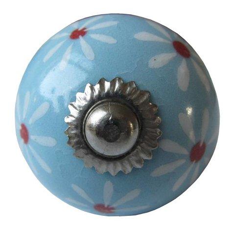 Deurknopje lichtblauw rond met witte bloemen