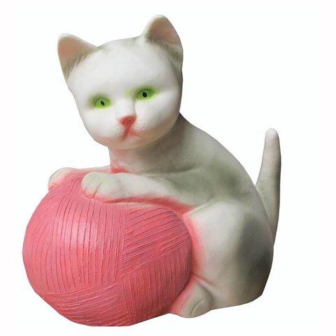 Figuurlamp poes met roze bal