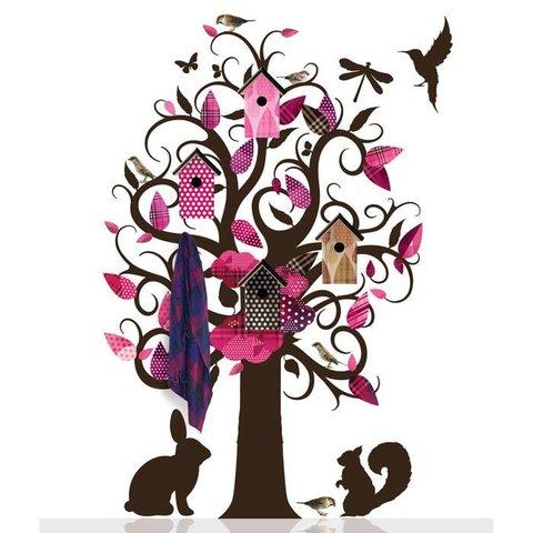 KEK Amsterdam kapstok muursticker villa vogel boom roze