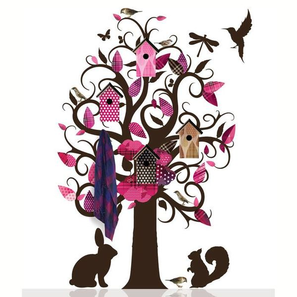 KEK Amsterdam KEK Amsterdam kapstok muursticker villa vogel boom roze