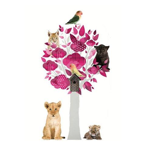 KEK Amsterdam muursticker boom safari friends roze