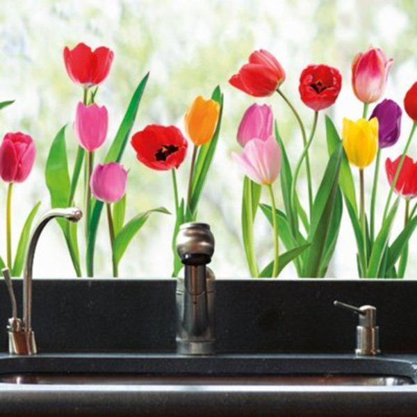 Nouvelles Images Nouvelles Images raamsticker XL tulpen