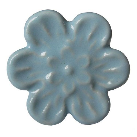 Deurknop relief bloem blauw