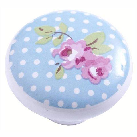 Kastknopje kinderkamer roosje lichtblauw