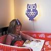 Roommate wandlamp kinderkamer uil paars