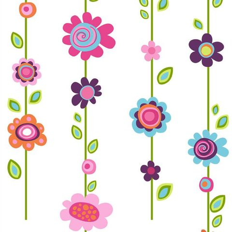 Roommates muursticker bloemen flower stripe
