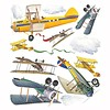 Roommates muursticker vintage vliegtuigen