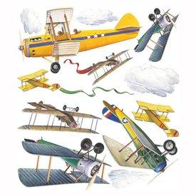 Roommates Roommates muursticker vintage vliegtuigen
