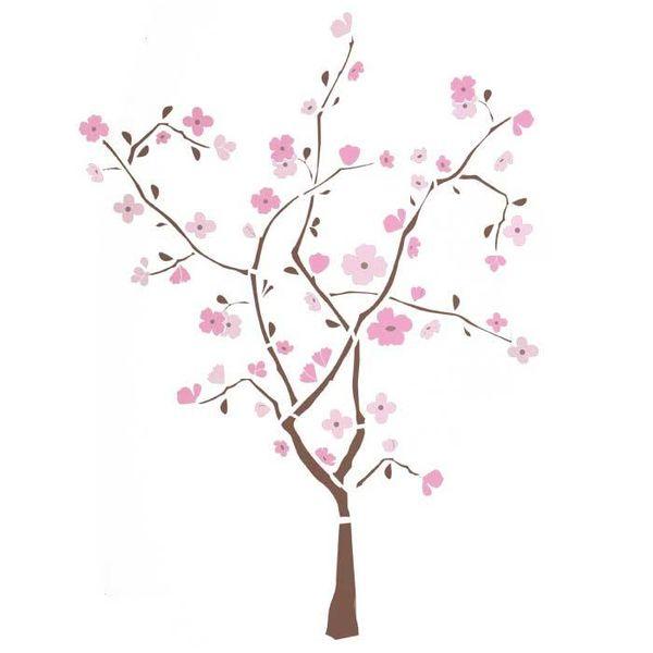 Roommates Roommates muursticker boom met roze bloemen