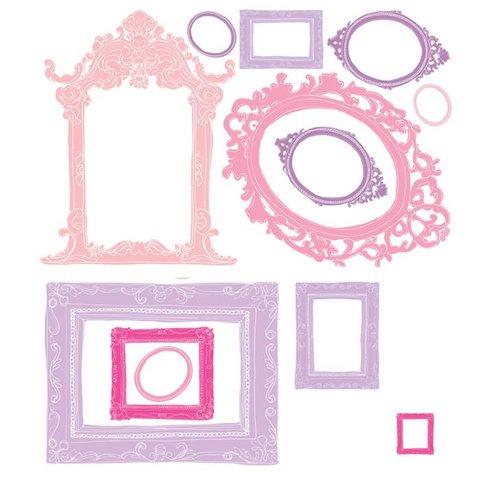 Roommates muursticker fotolijsten roze en paars