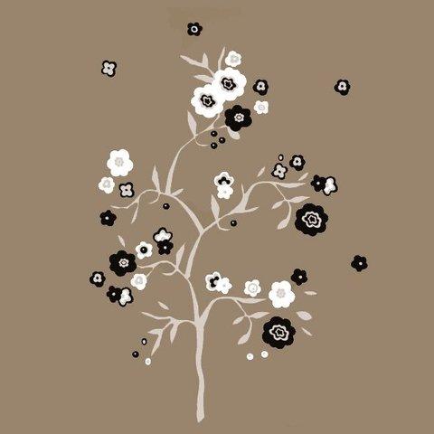 Nouvelles Images muursticker boom met bloemen grijs, zwart en wit