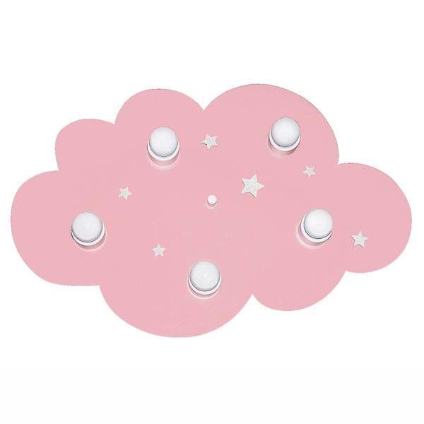 Waldi-Leuchten Kinderlamp plafonniere wolk roze