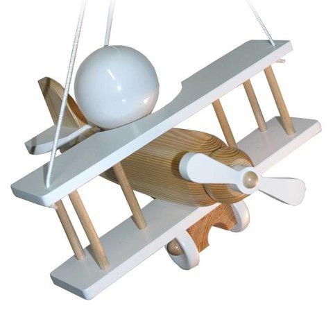 Kinderlamp vliegtuig wit/naturel