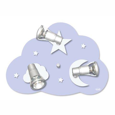 Kinderlamp plafonniere wolk lichtblauw zilver
