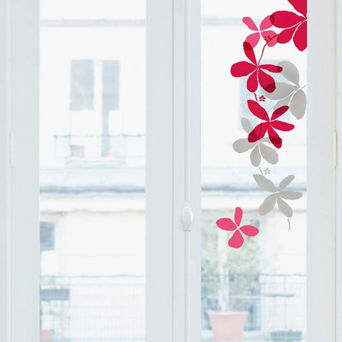 Nouvelles Images raamstickers bloemen rood, roze en grijs