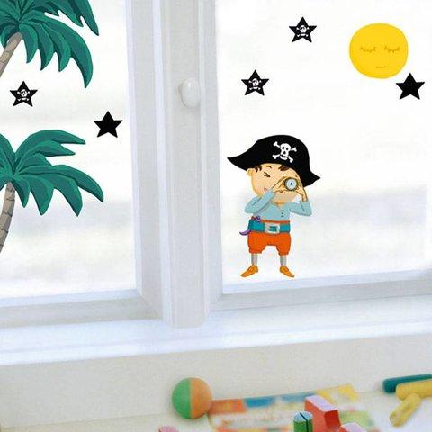 Nouvelles Images raamsticker piraten en palmen