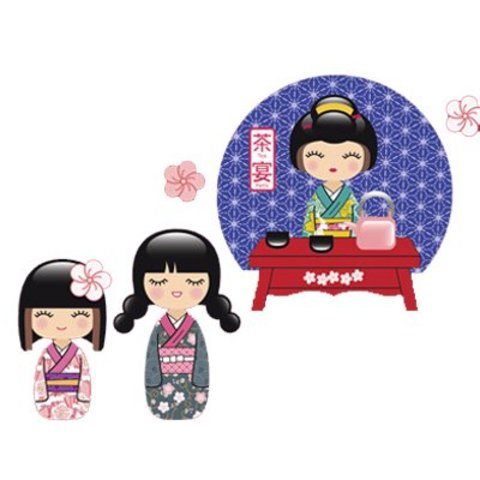 Nouvelles Images muursticker geisha tea time