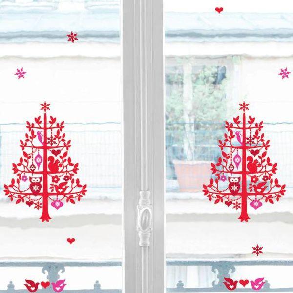 Nouvelles Images Nouvelles Images raamstickers kerst boom met uil en eekhoorn  rood