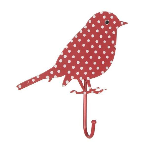 Sass & Belle RJB Stone kapstokje vogel stippen rood