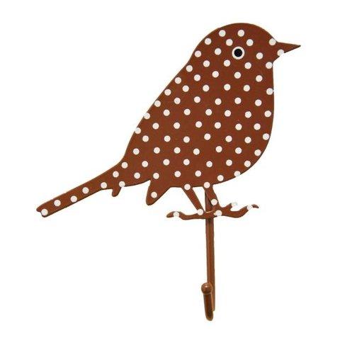 RJB Stone kapstokje vogel stippen bruin