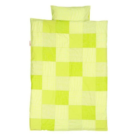 Taftan beddengoed ruit patch lime