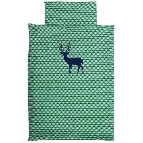 Taftan beddengoed hert blauw groen