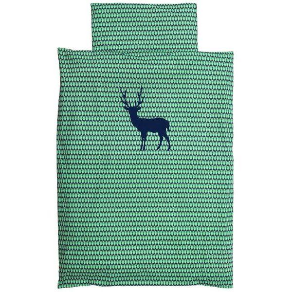 Taftan Taftan beddengoed hert blauw groen