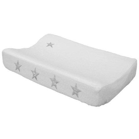Taftan verschoonkussenhoes badstof wit met zilveren sterren