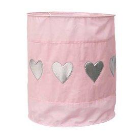 Taftan Taftan kinderlamp roze met zilveren hartjes