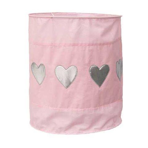 Taftan kinderlamp roze met zilveren hartjes