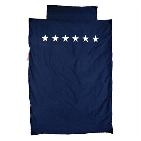 Taftan beddengoed donkerblauw silver stars