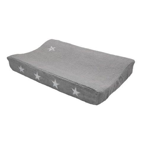 Taftan verschoonkussenhoes badstof grijs met zilveren sterren