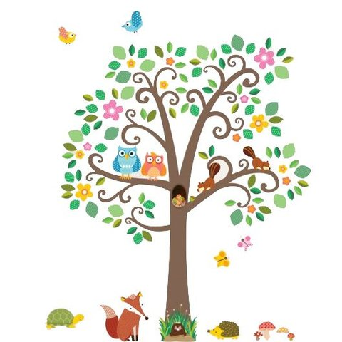 Decowall muursticker boom scroll tree met dieren