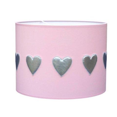 Taftan kinderlamp hartjes roze