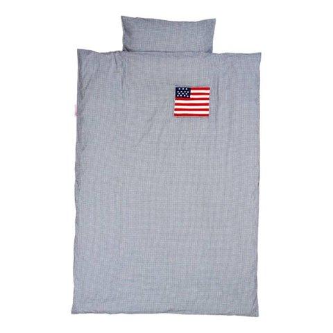 Taftan beddengoed ruitjes donkerblauw met Amerikaanse vlag