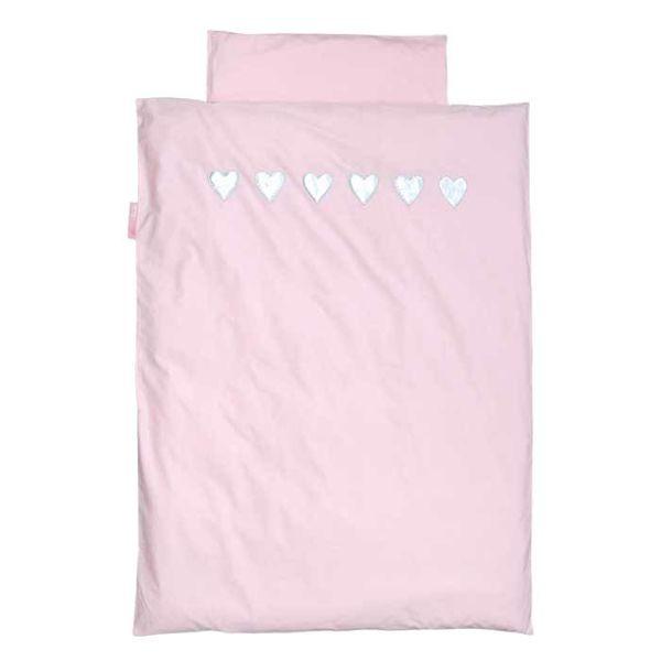 Taftan Taftan beddengoed roze zilveren hartjes