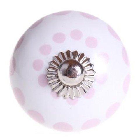 La Finesse kastknopje wit met roze stippen