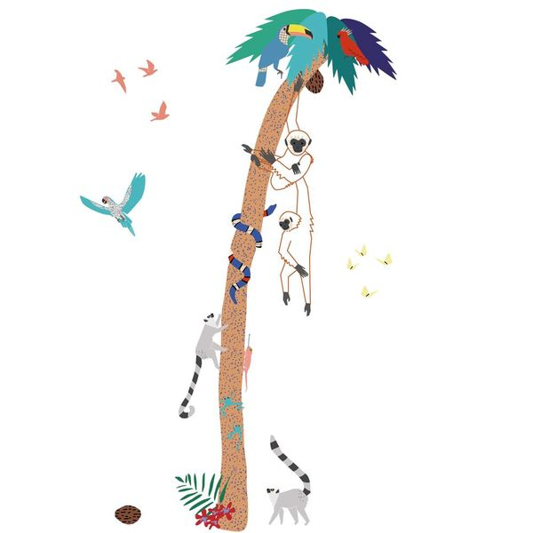 Mimi'lou Mimilou muursticker jungle boom met aapjes