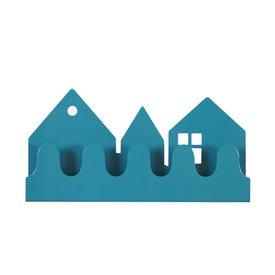 Roommate Roommate kinderkapstok huisjes village petrol blauw