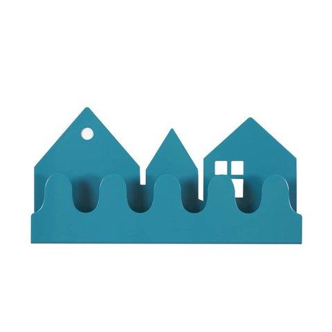 Roommate kinderkapstok huisjes village petrol blauw