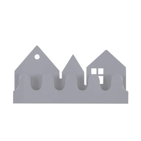 Roommate kinderkapstok huisjes village grijs