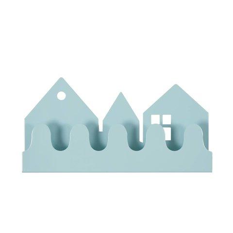 Roommate kinderkapstok huisjes village pastel blauw
