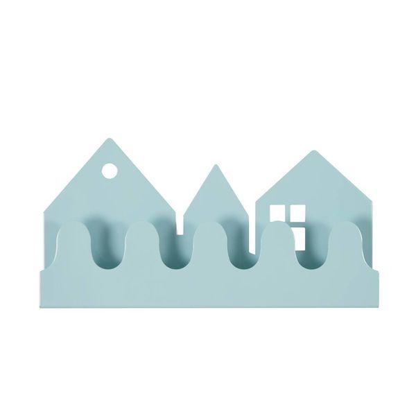 Roommate Roommate Denmark kinderkapstok huisjes village pastel blauw