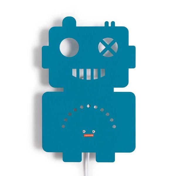 Roommate Roommate wandlamp kinderkamer robot petrol blauw