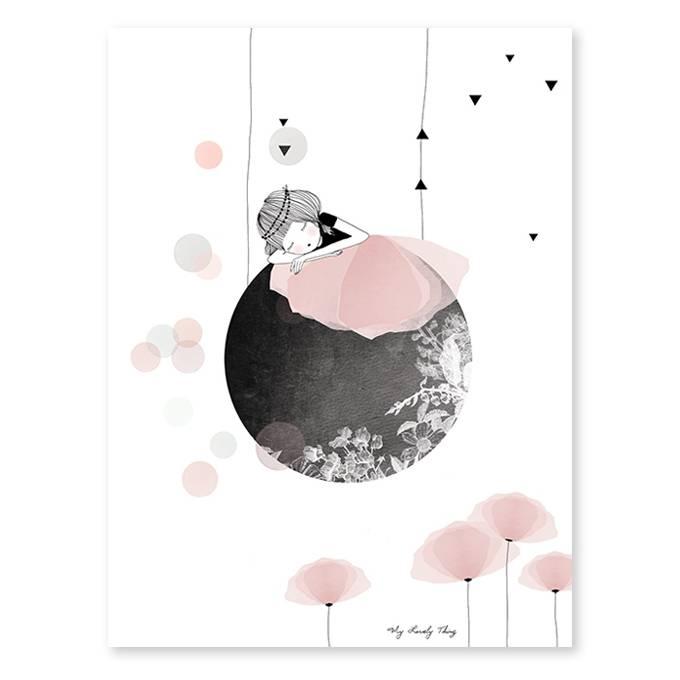 lilipinso poster meisje op de maan kidzsupplies. Black Bedroom Furniture Sets. Home Design Ideas