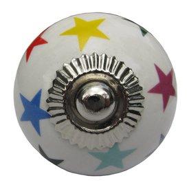 La Finesse La Finesse kastknopje wit met regenboog sterren