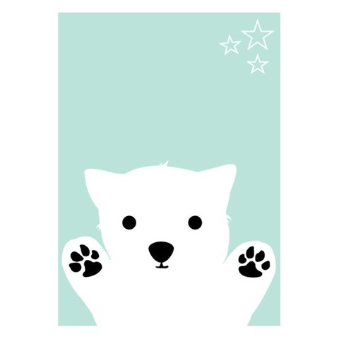 Kinderposter A3 hondje blue dog