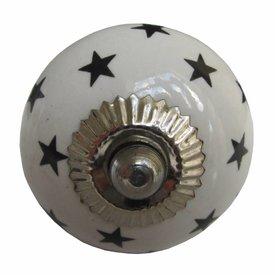 La Finesse La Finesse kastknopje wit met zwarte sterren