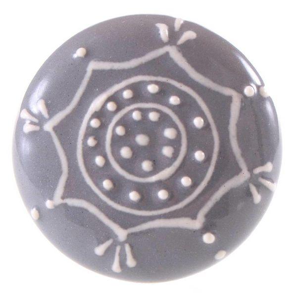 La Finesse La Finesse kastknopje reliëf rond grijs